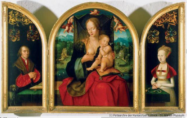 1520 Jakob van Utrecht Hinrick Kerkring Ratsherr und Kaemmereiherr et epouse Katharina St Annen Museum Lubeck
