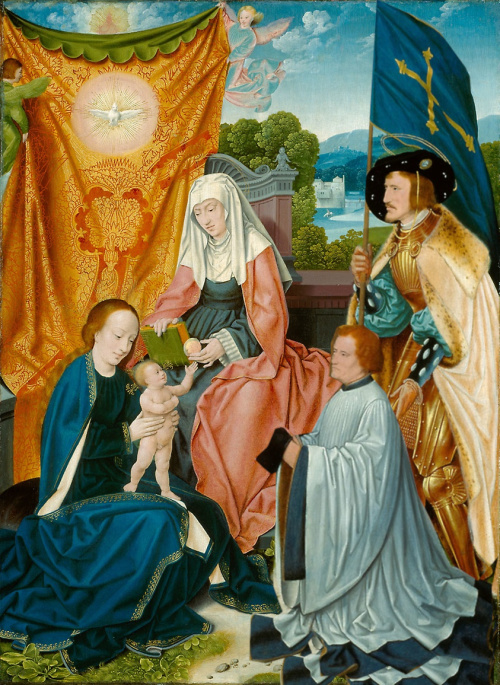 1520 ca bartholomaus-bruyn-lancien vierge-a-lenfant-avec-sainte-anne-saint-gereon-et-un-donateur Art Institute of Chicago modifie