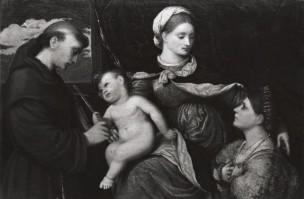 1521-70 Paris Bordone Madonne avec St Francois et donatrice coll privee