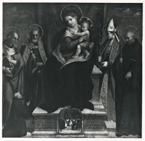 1522 Sabatini Andrea, Madonna con Bambino in trono tra santi e donatore coll priv