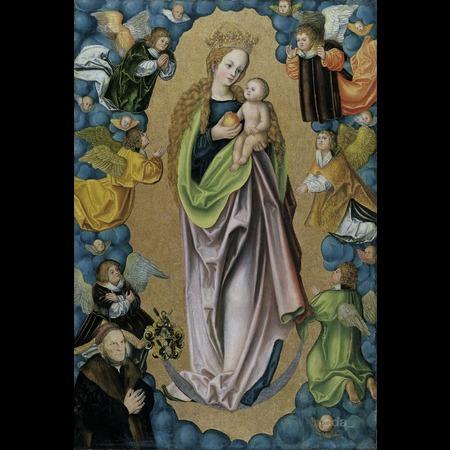 1523 avant Lucas Cranach der Altere Madonna auf der Mondsichel verehrt von dem Stifter Hieronymus Rudelauf Staedel Museum Frankfurt
