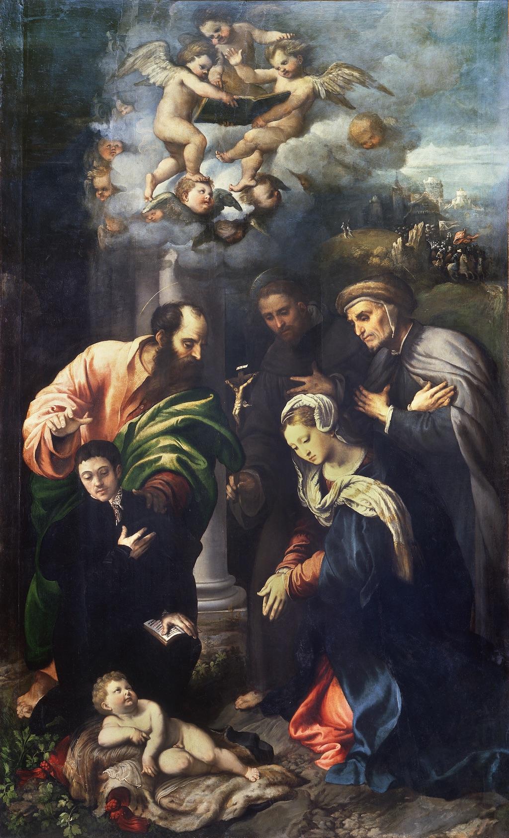 1529 ca Giulio Campi St Antoine Padoue beato Alberto da Bergamo et donateur inconnu Brera
