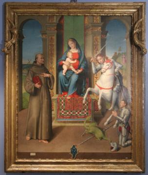 1531 Longhi Luca, Francesco d'Assisi, san Giorgio e il donatore Antonello Zampeschi Pinacoteca Civica, Santarcangelo di Romagna