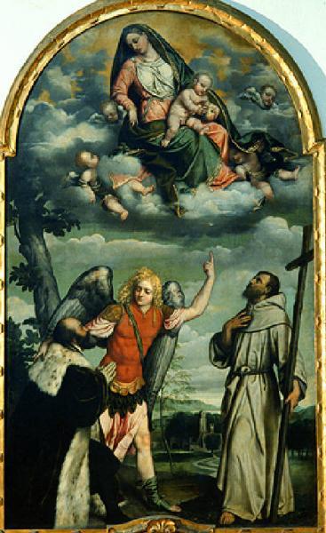 1542 Moretto,_Madonna_con_Gesù_Bambino_in_gloria_con_santi_e_donatore Pinacoteca Tosio Martinengo a Brescia.