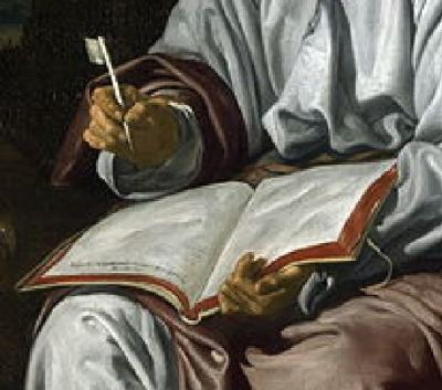 1618 Velasquez Saint Jean National_Gallery, Londres detail livre