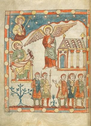880-900 Apocalypse de Cambrai, BM Cambrai, Ms. 386 fol 6v Laodicee