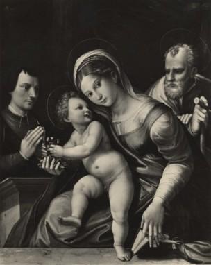 Anonimo sec. XVI Sacra Famiglia con donatore coll privee