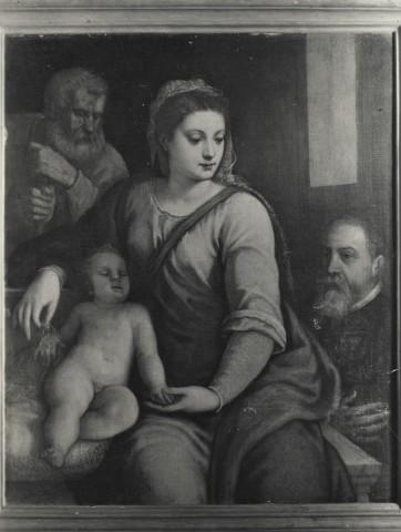 Anonimo veneziano sec. XVI, Sacra Famiglia con donatore loc inconnue