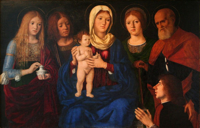 DJ 1496-1504 Pasqualino_Veneto_ Mary_Magdalene,_John,_Joseph_an_Unidentified_Saint_and_the_Donor National Gallery in Prague