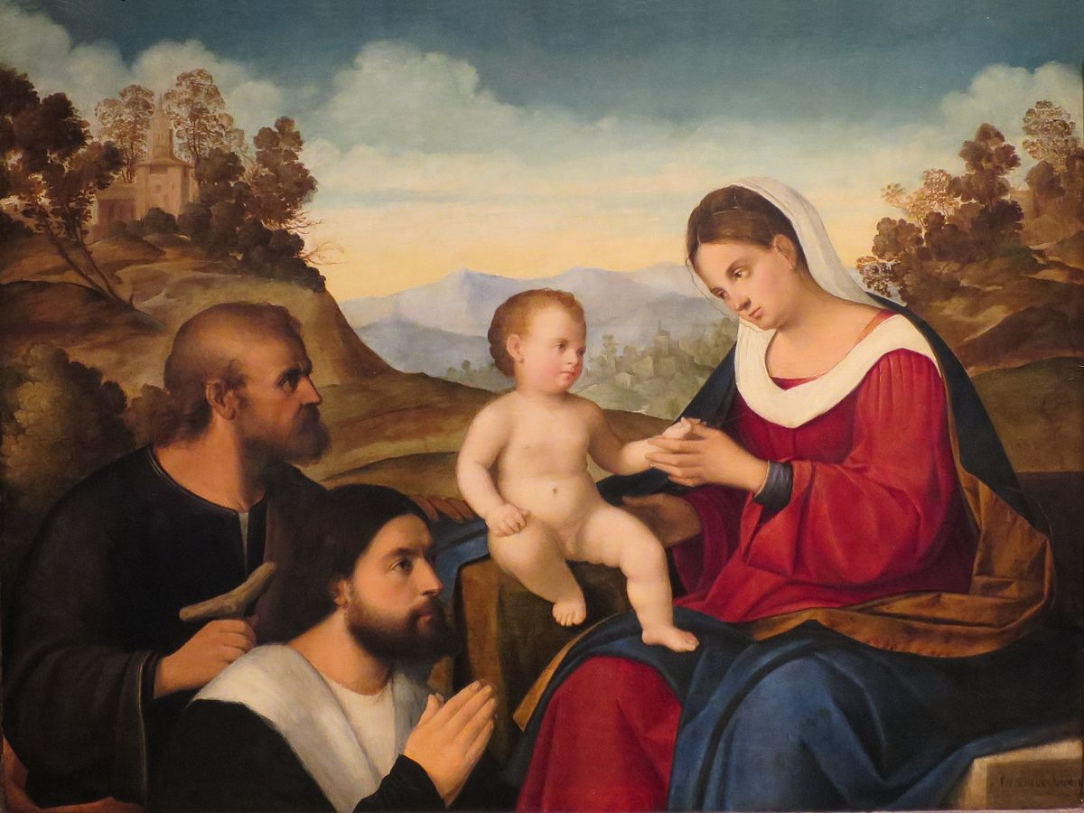 _DJ 1520-25 The_Holy_Family_with_a_Donor_in_a_Landscape_by_Pier_Francesco_Bissolo dayton