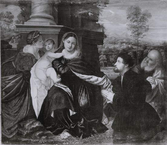 DJ 1535-65 Polidoro de Renzi Sacra Famiglia con santa Caterina d'Alessandria e donatore Gemaldegalerie Alte Meister, Kassel