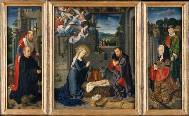 Gerard David 1510-15 The Nativity with Donors and Saints Jerome and Leonard MET