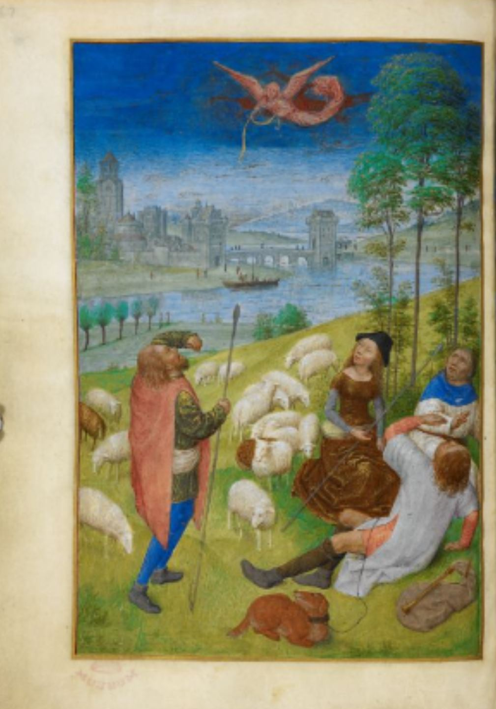 Huth Hours 1485-90 Apparition aux BergersBL Add MS 38126 fol 79v