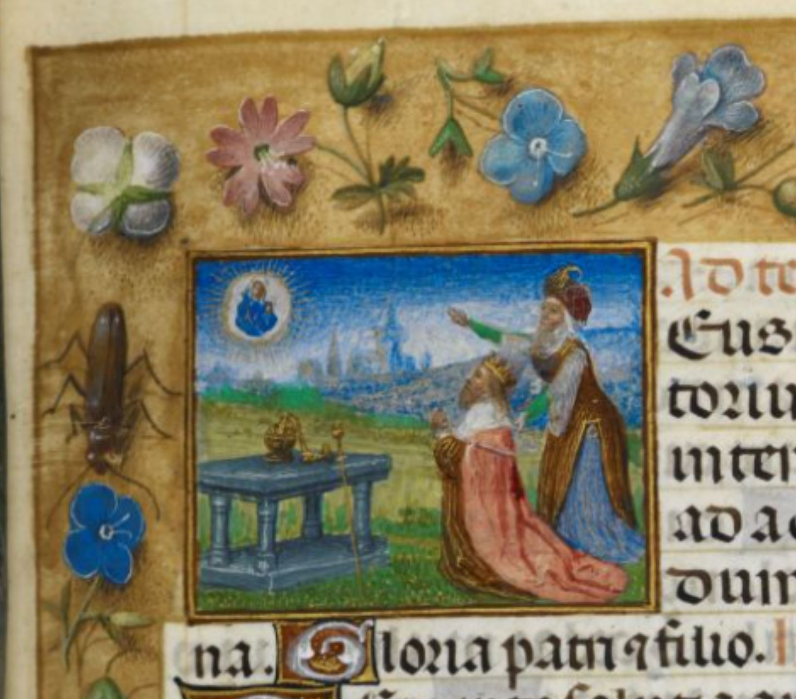 Huth Hours 1485-90 Auguste et la Sibylle BL Add MS 38126 fol 80r