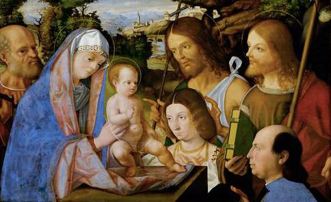 JVD 1508 Andrea_Previtali Joseph Jean Baptiste, Jacques et couple donateurs Kunsthistorisches Museum