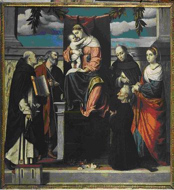 JVD 1525-30 moretto Pala di Orzinuovi santi-domenico-giuseppe-et-vincenzo-ferrer-lucia-e-un-committente-
