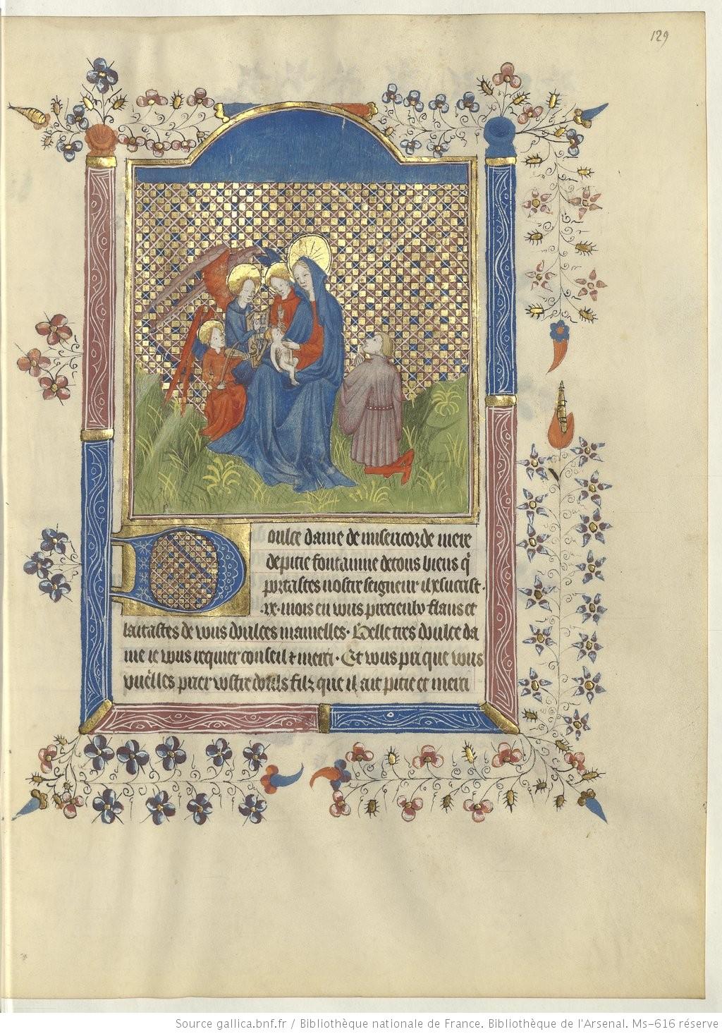 Livre d'heures a l'usage de Rennes, 1420, Arsenal Ms-616 fol 129r