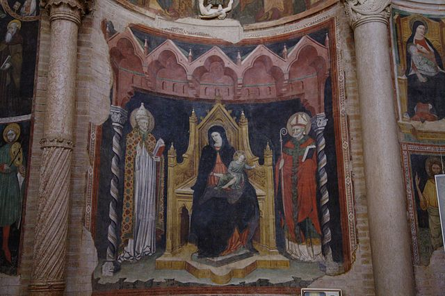 Maitre de 1302 Madonna col Bambino pape Gregoire le grand eveque saint Augustin Baptistere de Parme photo Hans A. Rosbach