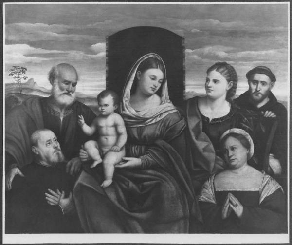 Palma Vecchio, Madonna con Bambino in trono, santi e donatori coll priv