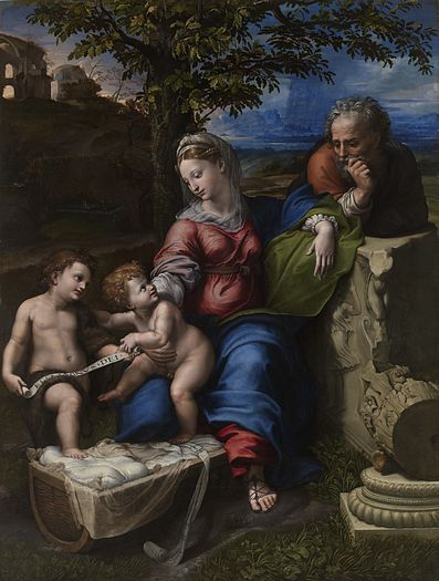 Raphael 1518 Sainte Famille sous le chene Prado Madrid