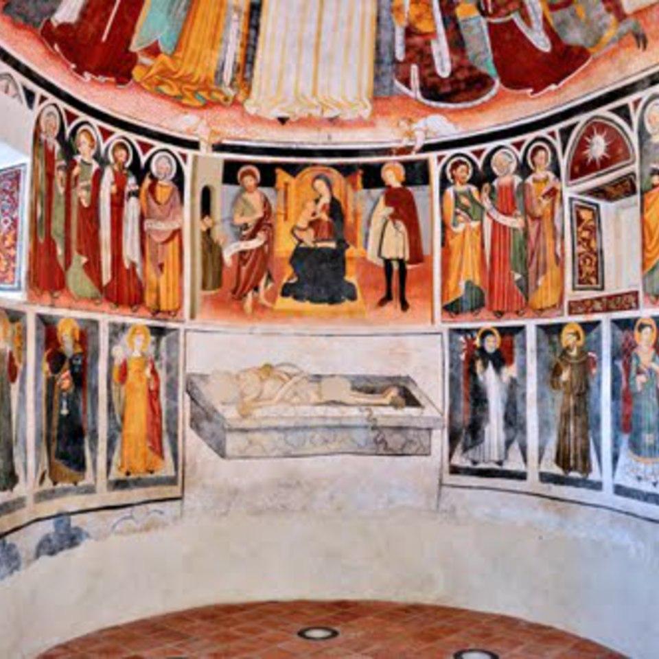 _SVDS 1482 Anonimo piemontese , Madonna con Bambino in trono tra san Giovanni Battista, san Giuliano e donatore Cappella di Madonna Lunga bas