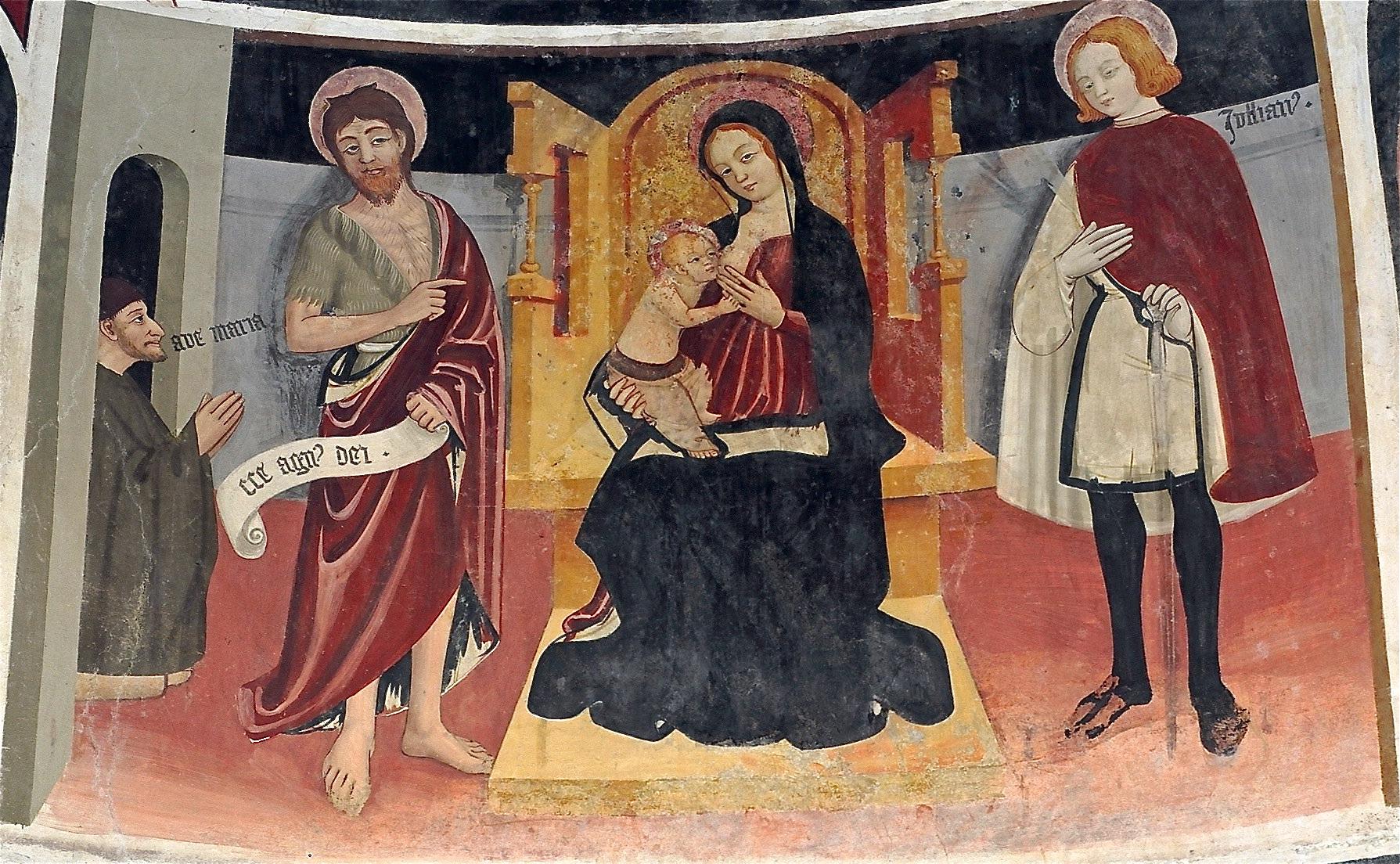 _SVDS 1482 Anonimo piemontese , tra san Giovanni Battista, san Giuliano e donatore Cappella di Madonna Lunga detail
