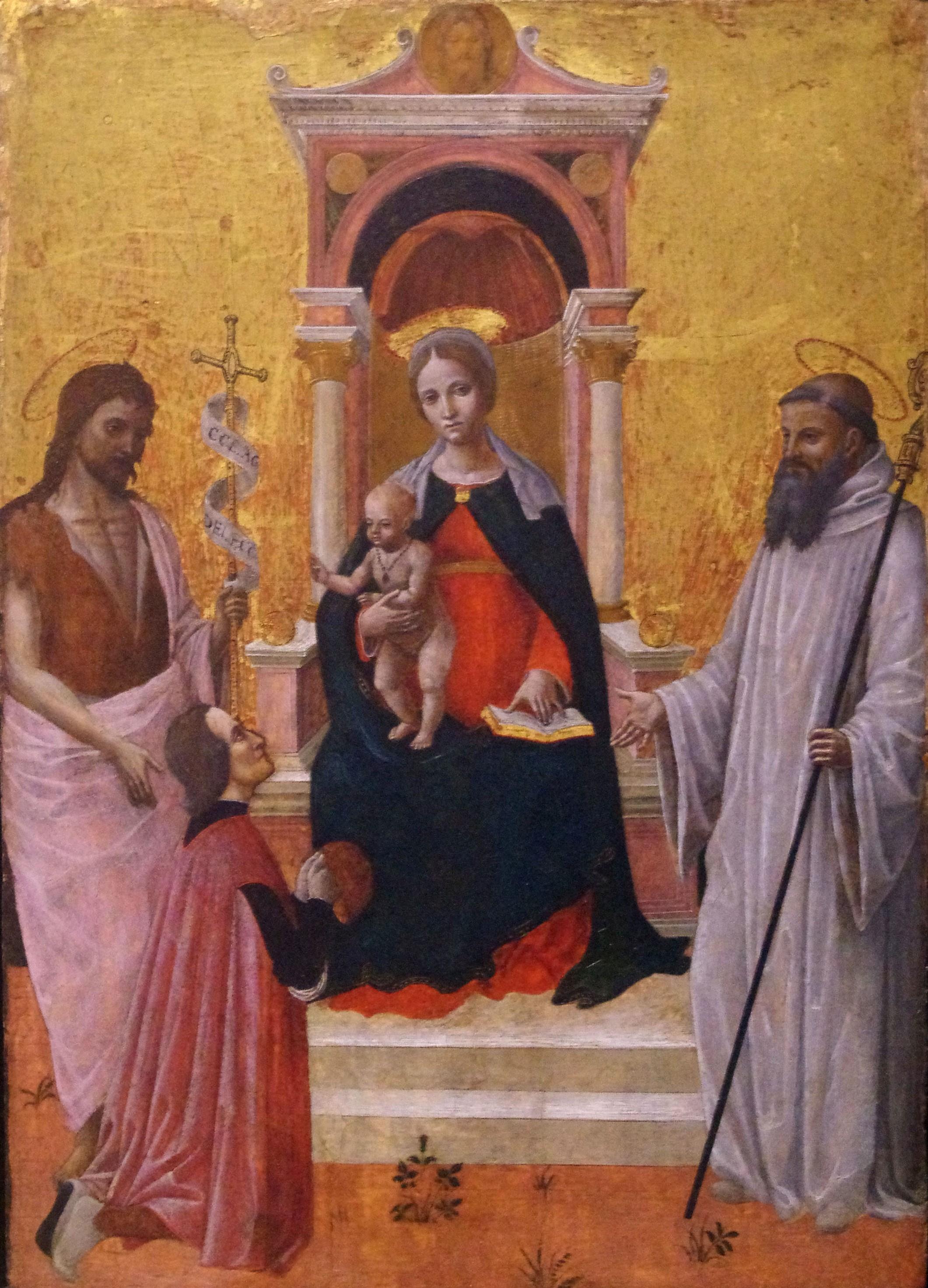 _SVDS 1485-90 Ambrogio Bevilacqua Saint John Baptist, Saint Bernard of Clairveaux and donor Accademia Carrara, Bergame