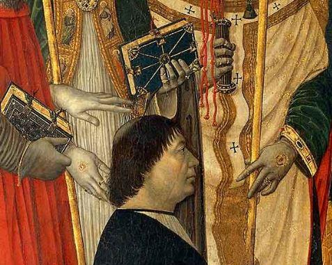 _SVDS 1485 ca il-Bergognone-Sacra-Conversazione avec le protonotaire Gerolamo Calagrani Pinacoteca Ambrosiana Milan detail