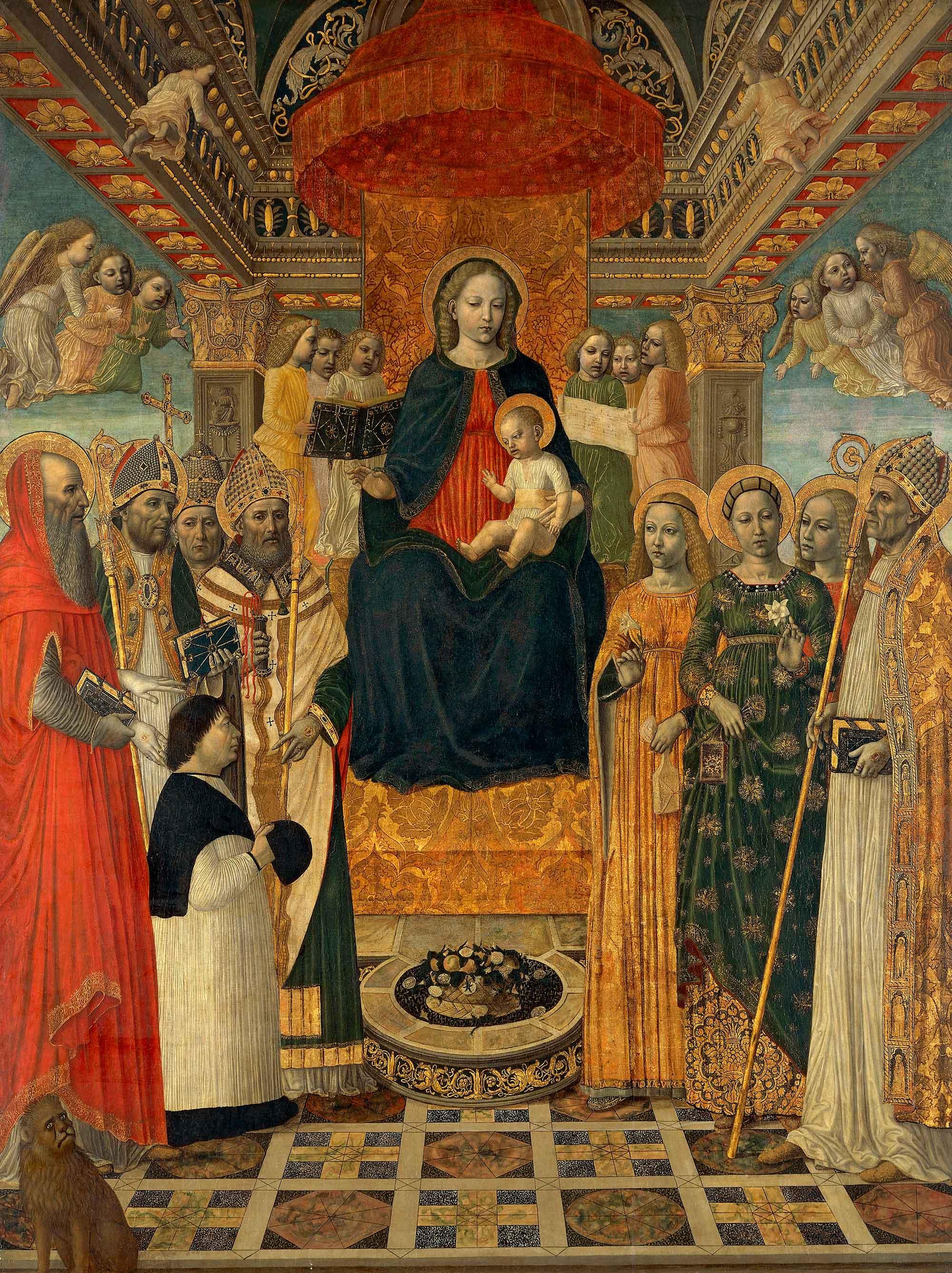 _SVDS 1485 ca il-Bergognone-Sacra-Conversazione avec le protonotaire Gerolamo Calagrani Pinacoteca Ambrosiana Milan