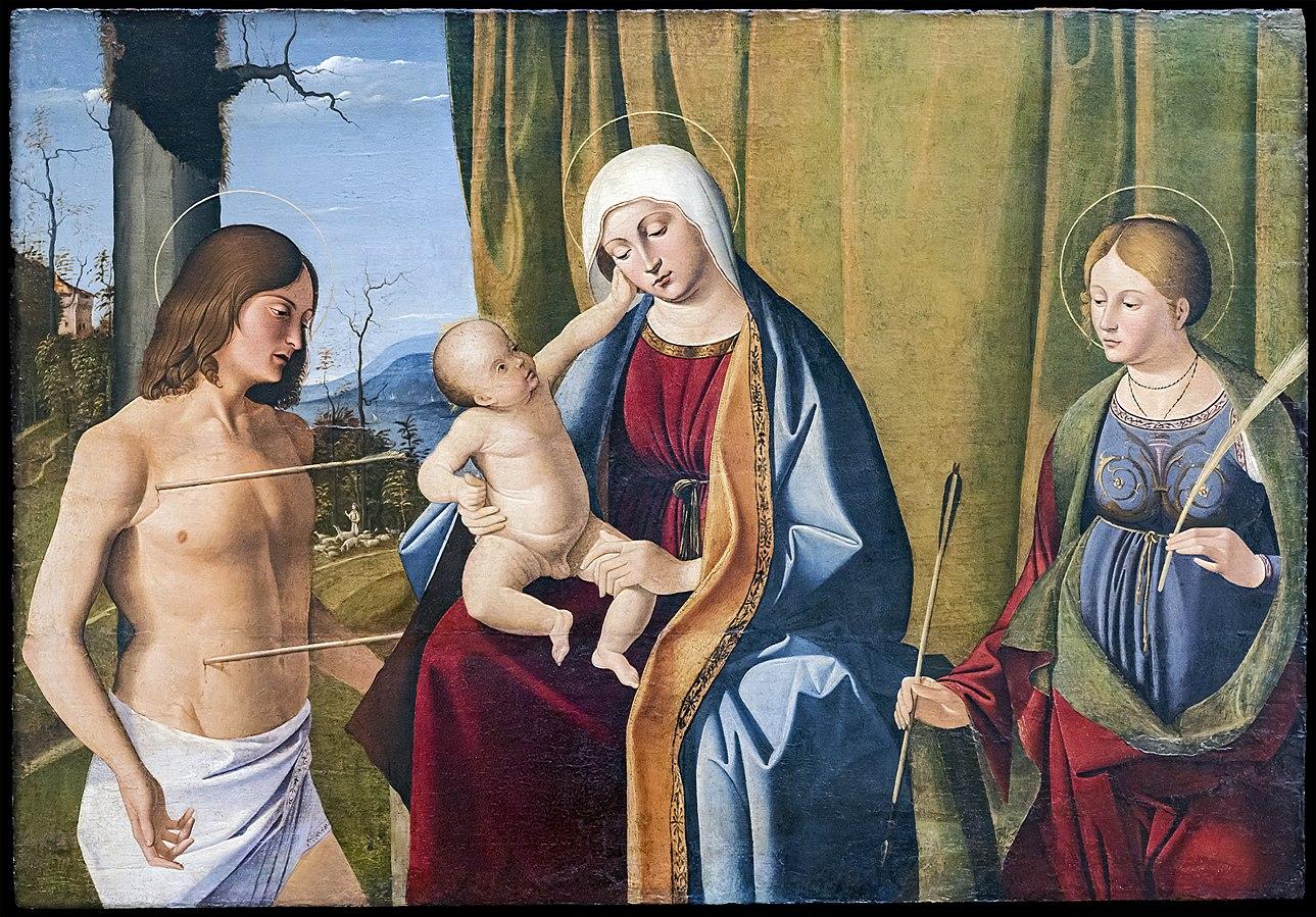 SVDS 1500-10 Basaiti Marco Augustins_-_Vergine_col_Bambino_tra_San_Sebastiano_e_San_Ursula