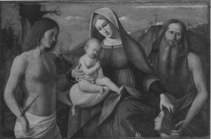 SVDS 1500-10 Basaiti Marco, Madonna con Bambino tra san Sebastiano, san Girolamo e donatore Alte Pinakothek