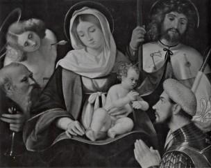 SVDS 1500-28 Andrea Previtali Madonna sant'Antonio Abate, san Giacomo Maggiore, san Sebastiano e donatore Collezione Saibene, Milano