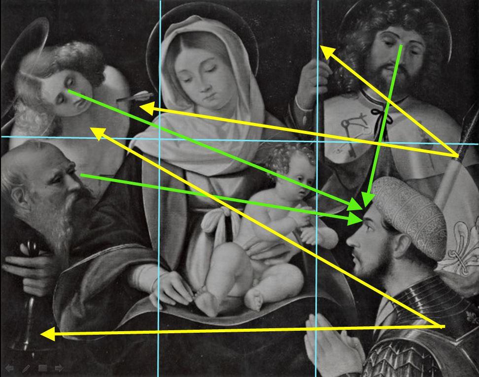 SVDS 1500-28 Andrea Previtali Madonna sant'Antonio Abate, san Giacomo Maggiore, san Sebastiano e donatore Collezione Saibene, Milano schema