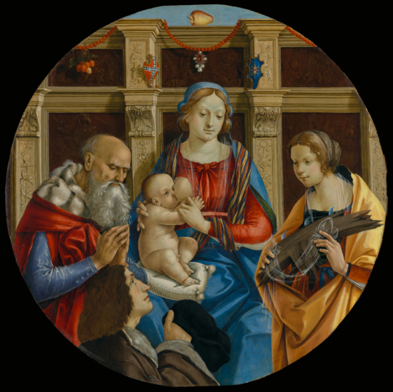 _SVDS 1500 ca Membrini, Michelangelo di Pietro Male Saint, Catherine of Alexandria and a Donor, J. Paul Getty Museum, Los Angeles, USA