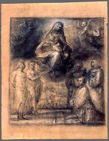 SVDS 1511-12 Fra_Bartolomeo_Maria mit Heiligen und dem Stifter Ferry Carondelet esquisse