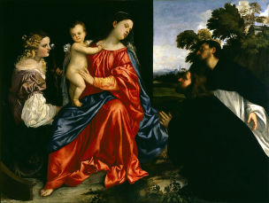 SVDS 1512-16 Titian_Madonna_and_Child_with_Sts_Catherine_and_Dominic_and_a_Donor Fondazione Magnani-Rocca Mamiano
