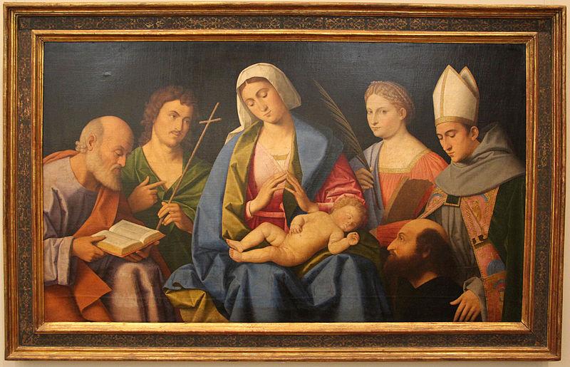 SVDS 1512 Vincenzo catena,_madonna_col_bambino,_santi_e_il_donatore_ludovico_ariosto,__ca gemaldegalerie berlin