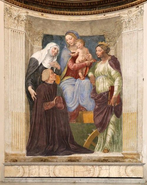 _SVDS 1516 Baldassarre Peruzzi, Madonna sante Brigida e Caterina e il cardinale Ferdinando Ponzetti, Chiesa di Santa Maria della Pace