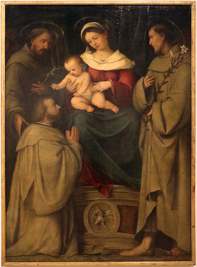 _SVDS 1528-29 Romanino San Francesco, Sant'Antonio da Padova e un donatore, Pinacoteca del Castello Sforzesco Milan