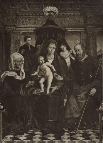 School of Macrino d'Alba sec. XVI, Sacra Famiglia con sant'Anna e donatore Palazzo Comunale, Alba