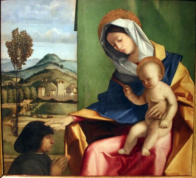 _VD 1490-1510 Pennacchi, Pier Maria Madonna col Bambino e un donatore Franchetti Gallery, Ca' D'Oro, Venice, Veneto, Italy