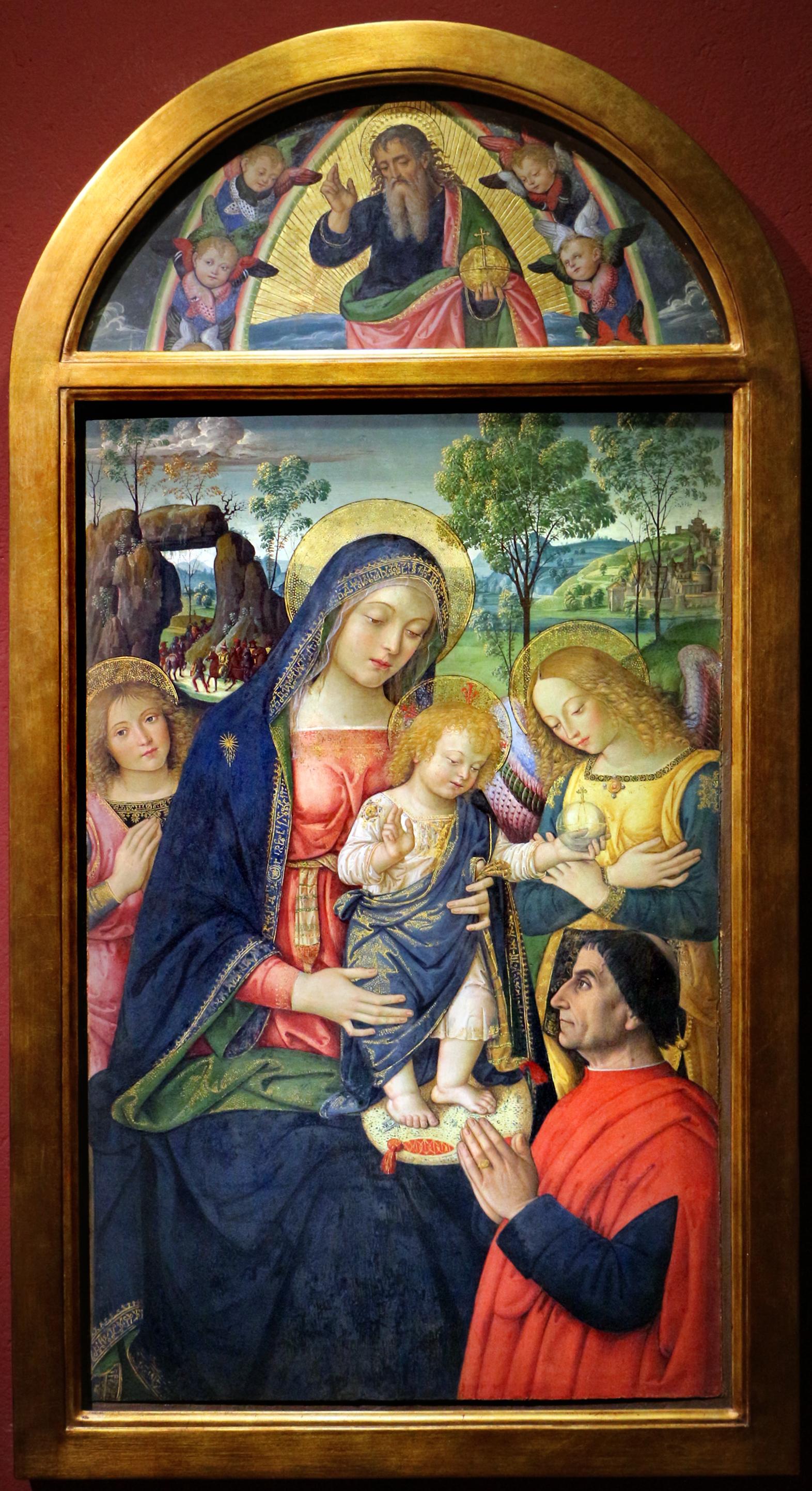 VD 1498-99 Pinturicchio , madonna della pace il donatore Liberato Bartelli, Dio Padre benedicente Pinacoteca Comunale San Severino