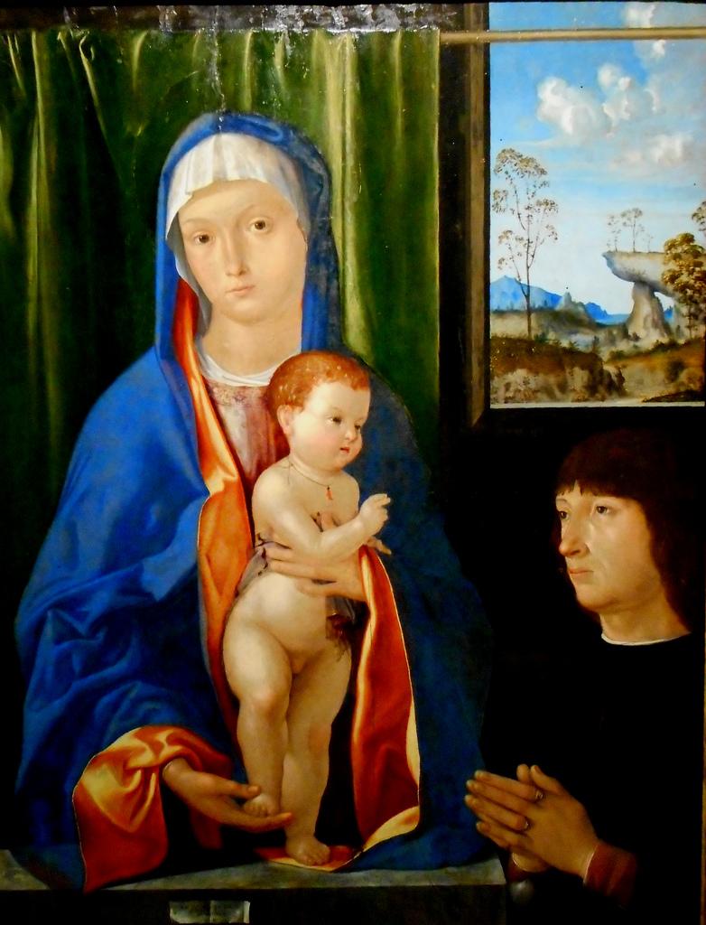 VD 1500-10 Antonio Solario Virgin Mary with Child and donor ,Naples, Capodimonte Museum
