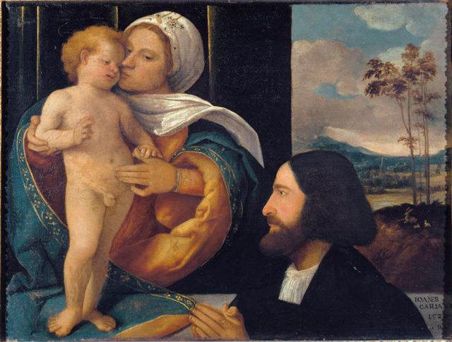 VD 1520 Busi Giovanni detto Cariani Madonna col Bambino e un devoto Carrara Bergame