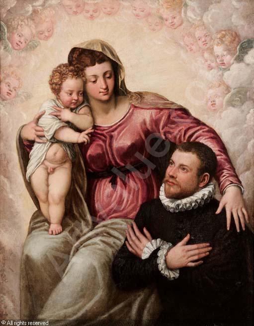 VD 1550 - 1599 Tintoret Madonne vec St Jean Baptiste donateur Coll priv.