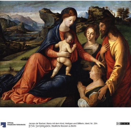 VDS 1490-1500 Jacopo de' Barbari santa Barbara Jean Baptiste e Catarina Cornaro reine de Chypre Gemaldegalerie Berlin