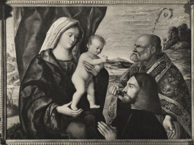 VDS 1490 - 1524 Maestro veneto dell'Incredulita di San Tommaso, Vierge a l'Enfant avec Saint Nicolas et un donateur coll privee