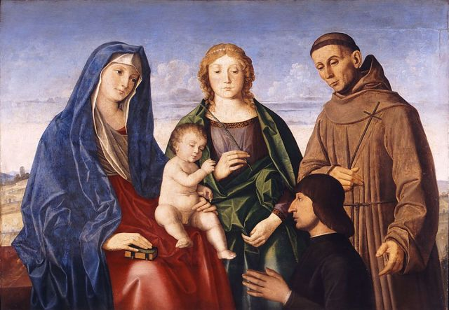 VDS 1505-10 Vincenzo Catena santa Caterina d'Alessandria , san Francesco d'Assisi e donatore Museo di Belle Arti Budapest