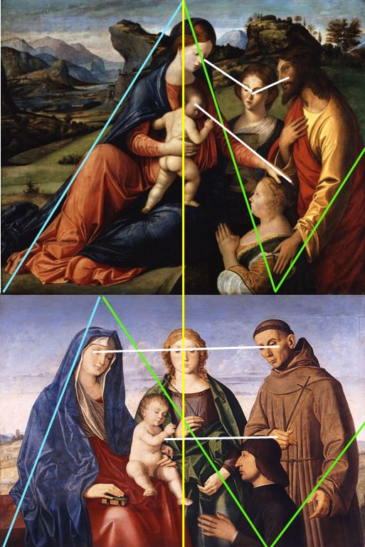 VDS 1505-10 Vincenzo Catena santa Caterina d'Alessandria , san Francesco d'Assisi e donatore Museo di Belle Arti Budapest schema