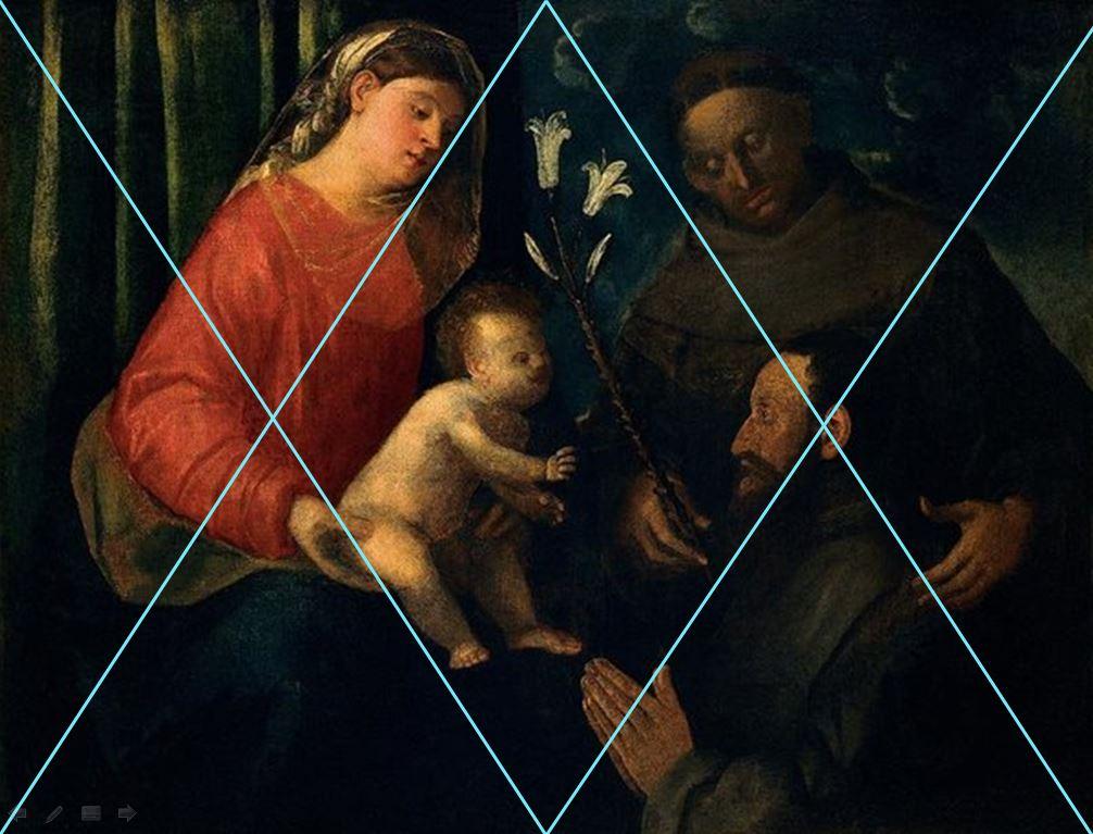 VDS 1530-40 Busi Giovanni, Madonna con Bambino, sant'Antonio da Padova e donatore Chiesa di S. Francesco, Rovigo schema